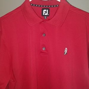 Footjoy silky golf polo red size large